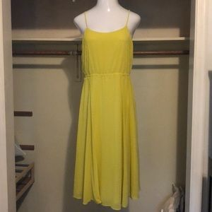 Yellow Laser Cut Midi Dress